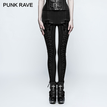 PUNK RAVE Gothic High-Grade Flocking Thickened Female Slim Leggings Bandage Stripe PU Leather Women Pencil Pants Winter Trousers