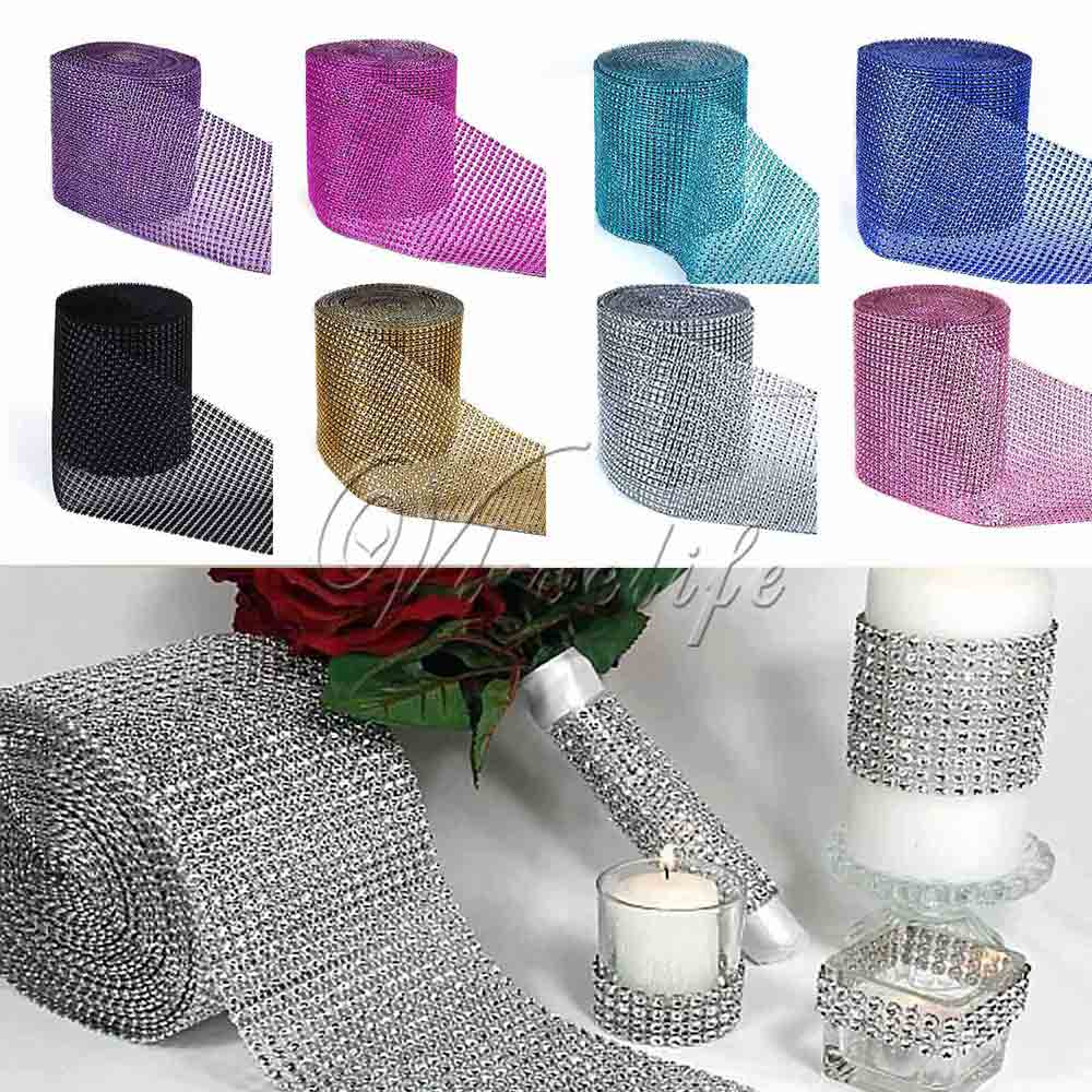 5 Yards x 12cm Multicolor Crystal Diamond Mesh Rhinestone Ribbon for Wedding Party Gift Vase Floral Decoration Products Decor 1