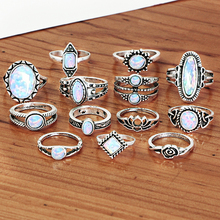 Vintage Women Ring Big Opal Rings Set Tibetan Bohemian Knuckle Rings Bijoux Fashion Party Jewelry For Women Men 13 PCS/Set