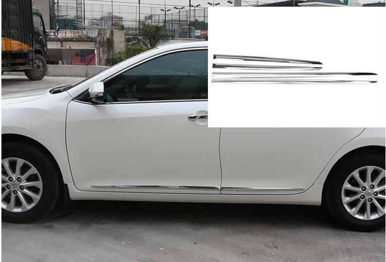 For Toyota Camry ABS Chrome Side Door Body Moulding Cover Trims Decoration 4Pcs 2012 2013 2014 2015 2016 2017