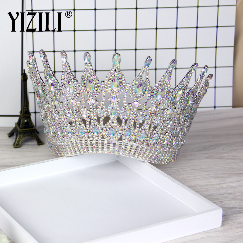 YIZILI New Luxury Big European Bride Wedding Crown gorgeous Crystal Large Round Queen Crown Wedding Hair