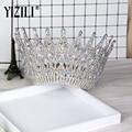 Новинка YIZILI  роскошный большой европейский венец для невесты  великолепный кристаллический большой круглый венок  аксессуары для волос на ...