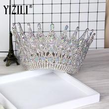 YIZILI New Luxury Big European Bride Wedding Crown gorgeous Crystal Large Round Queen Crown Wedding Hair Accessories C021
