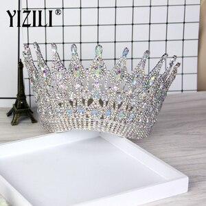 Image 1 - YIZILI grande couronne de mariage de luxe, grande couronne de mariée européenne, grande couronne ronde en cristal, accessoires de cheveux de mariage, C021