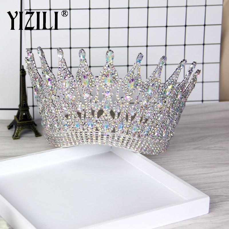 YIZILI nouveau luxe grande mariée européenne mariage couronne magnifique cristal grande ronde reine couronne mariage cheveux accessoires C021