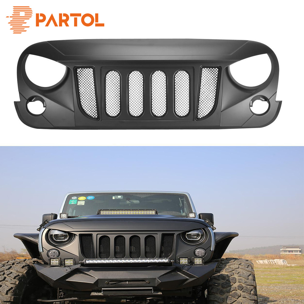 Partol Mesh Grill Insert Grille Front Bumper Mesh Grill ForJeep Wrangler JK 2DR/4DR 2007-2017 Car Styling with glared eagle eye 48v 15ah 700w bicycle battery use for samsung e bike battery 48v with 2a charger bms lithium electric bike scooter battery 48v