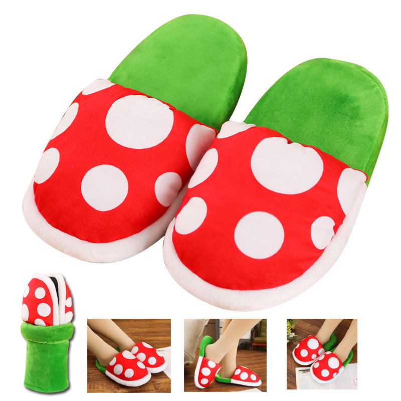 Super Mario Bros Cosplay Shoes Piranha Flower Slipper Autumn&Winter Plush Slipper Men Women Home Shoes Gift Wholesale