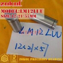 ZOKOL-rodamiento LM12 L UU LM12LUU, rodamiento de movimiento lineal alargado, 12*57 21mm