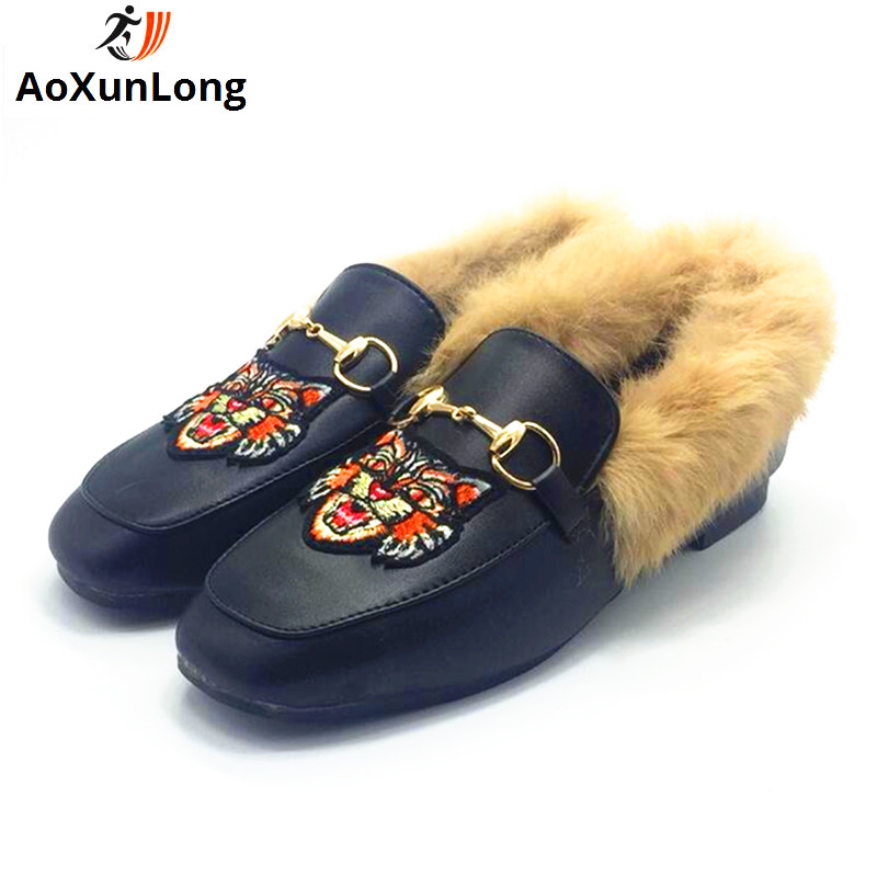 Spring & Winter Slippers Women Fashion Leather Plush Home Slippers Black Embroidered Bee Women Shoes Indoor Warmth Shoes Woman 8 plush home slippers women winter indoor shoes couple slippers men waterproof home interior non slip warmth month pu leather