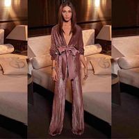 New Arrival Fashion Brown Wine Red Women Jumpsuit High Quality Velvet Long Sleeve Bodycon Sashes Slim Celebrity Party Jumpsutis