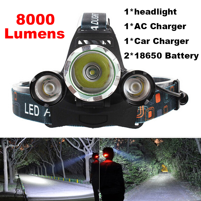 Super bright 4-mode 8000Lm CREE XML T6+2R5 LED Headlight Headlamp Head Lamp Light Flashlight 18650 Torch Camping Fishing r3 2led super bright mini headlamp headlight flashlight torch lamp 4 models