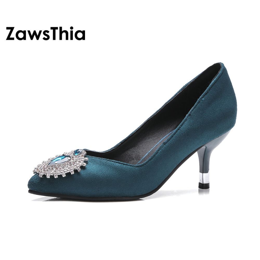 ZawsThia Suede Turquoise Scarlet Pointed Toe Kitten High Heels For Woman Sexy Crystal Pumps Women Lady Slip-on Wedding Shoes
