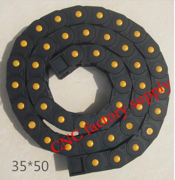 Free Shipping  1M 35*50 mm  Plastic Cable Drag Chain For CNC Machine,Fully Closed Type ,PA66 semi closed 25x50mm cable drag chain wire carrier with end connectors plastic towline for cnc router machine tools 1000mm