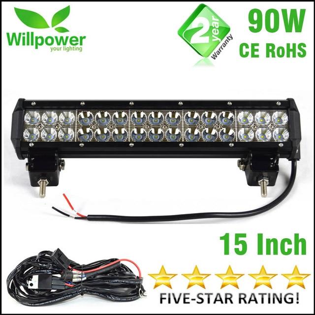 9000 lumens combo beam 90W aluminum housing 12 volt car Led offroad Light Bar