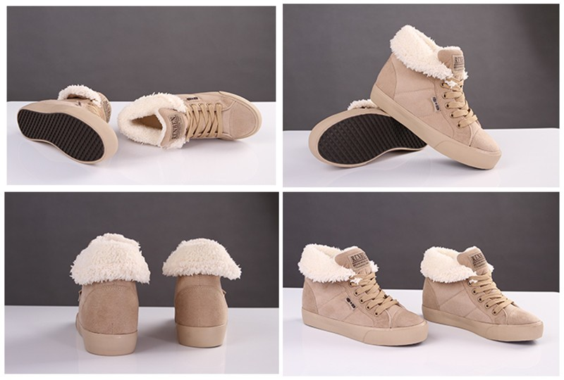 New Women Winter Faux Suede Leather Warm Plush Ankle Boots Autumn Women Shoes Fur Snow Boots Comfortable Running Shoes Sneakers 6