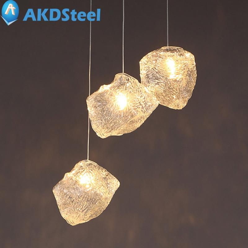 AKDSteel 220V 40W Ice Cube Shape G4 Base LED Pendant Lamp Decoration for Home Dining Room Romantic Warm Atmosphere(1 pcs)