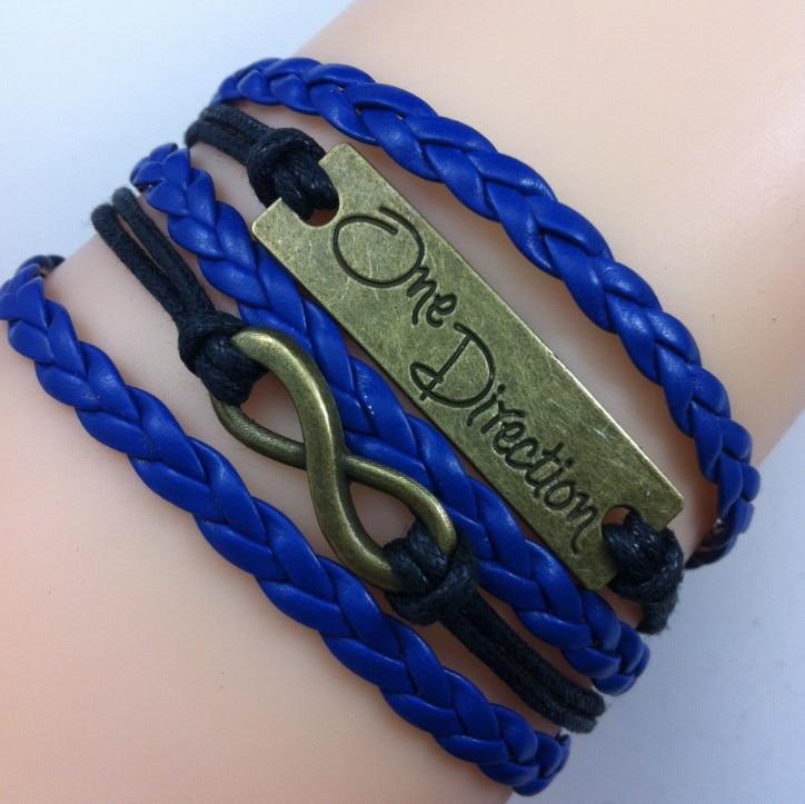 Ajojewel Uma direção preto e azul declaração de amor moda jóias handmade  multi layer pulseira de couro trançado a489709def
