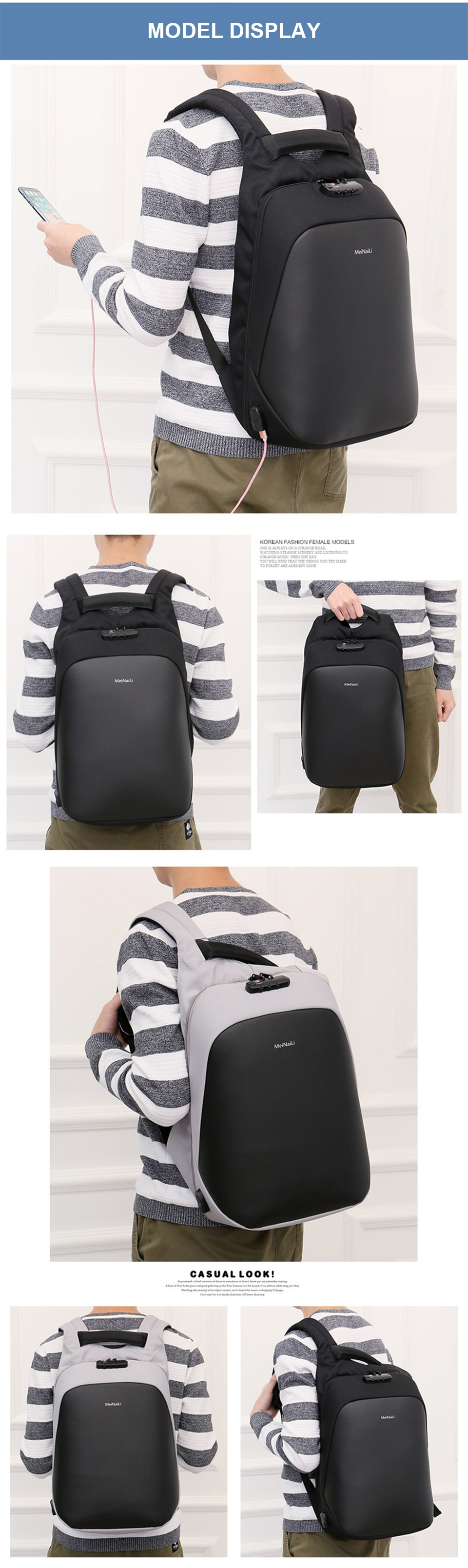 8 Anti-theft Backpack Men Backpacks Laptop 15.6'' Business Travel Luggage Bag Pack Waterproof USB Password Lock Male Backpacking