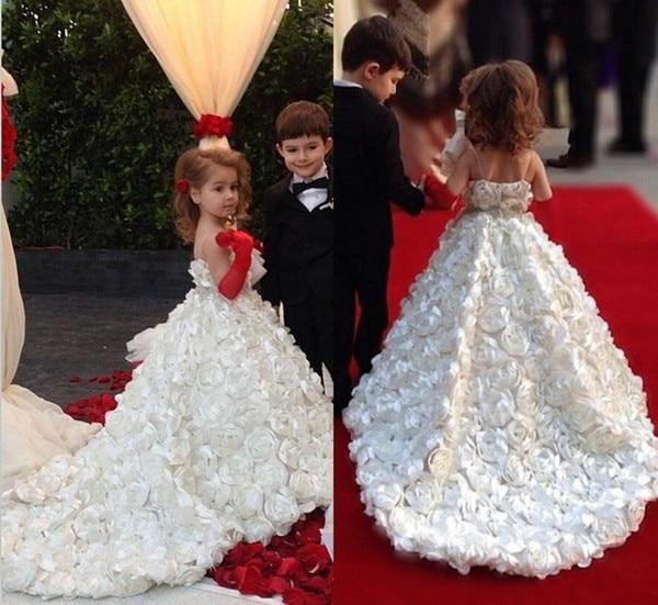 2018   Flower     Girls     Dresses   Full Handmade Rose   Flowers   Princess Ball Gown Sleeveless   Girls   Pageant   Dress   Kids Wedding Party Wear