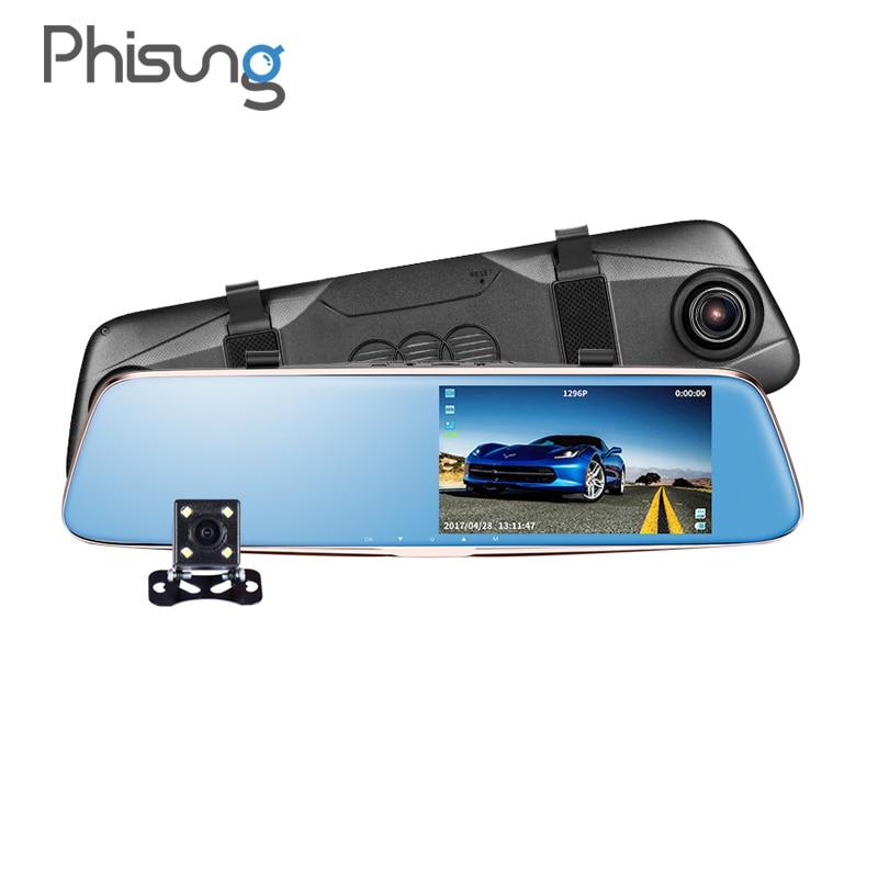 Phisung Т28 ночного видения Двойная камера зеркало заднего вида камера HD с 1296p АДАС тире-камеры G-Датчик парковки монитор камара automovil