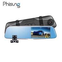 Phisung T28 Nuit vision Double Caméra rétroviseur caméra HD 1296 P ADAS dash cam G-Capteur Parking Moniteur camara automovil