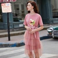 ARTKA 2019 Summer New Women Dress O Neck Fashion Print T shirt Dress Mesh Stitching Pink Elegant Short Sleeve Dresses ZA15492X