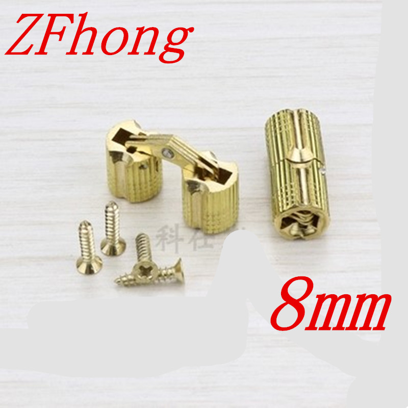 4PCS 8mm brass Barrel Hinges Cylindrical Hidden Cabinet Concealed Invisible Brass Hinges Mount Door Furniture Hardware