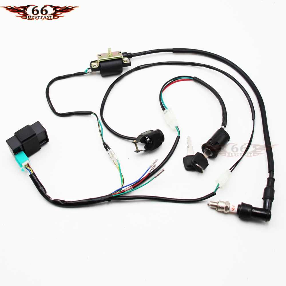 Detail Feedback Questions About Complete Electric Wiring Harness Dirt Pit Bike Kill Switch Ignition Coil Cdi Set 110 125 Kick Start Wire Loom For 50cc 70cc 90cc 110cc