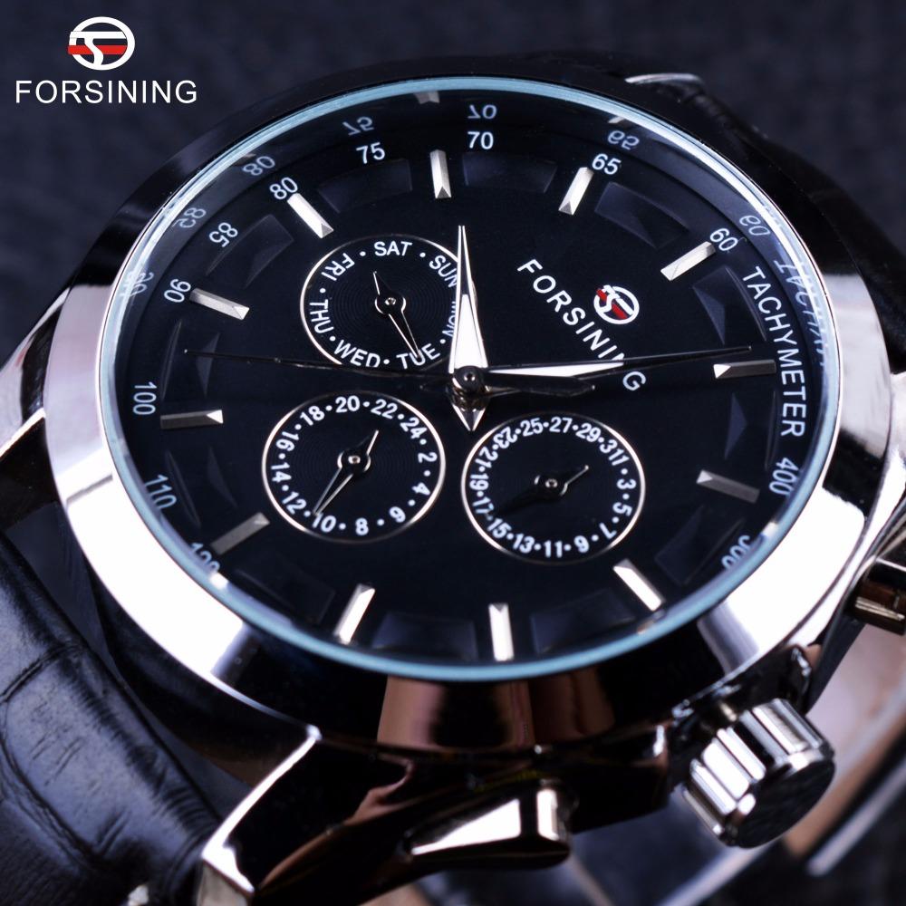 Prix pour Forsining Temps D'affaires Série Noir Véritable Bracelet En Cuir 3 Cadran 6 Mains Hommes Montres Top Marque De Luxe Montre Automatique Horloge hommes