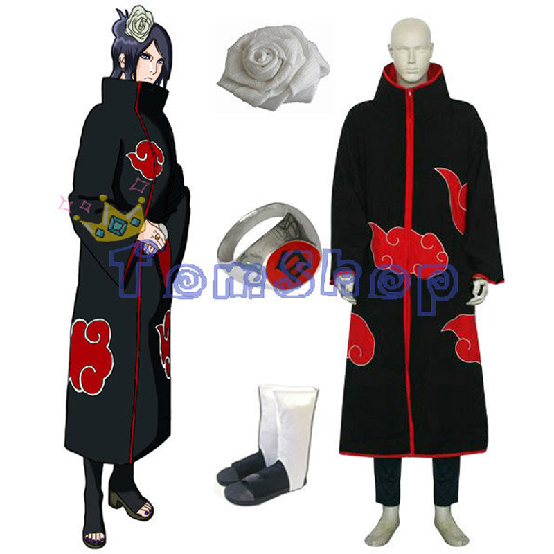 Anime Naruto Akatsuki Konan Deluxe Edition Cosplay Costume 4 in 1 Combo Set (Cloak+Flower Hair Clip+Boots+Ring) Free Shipping