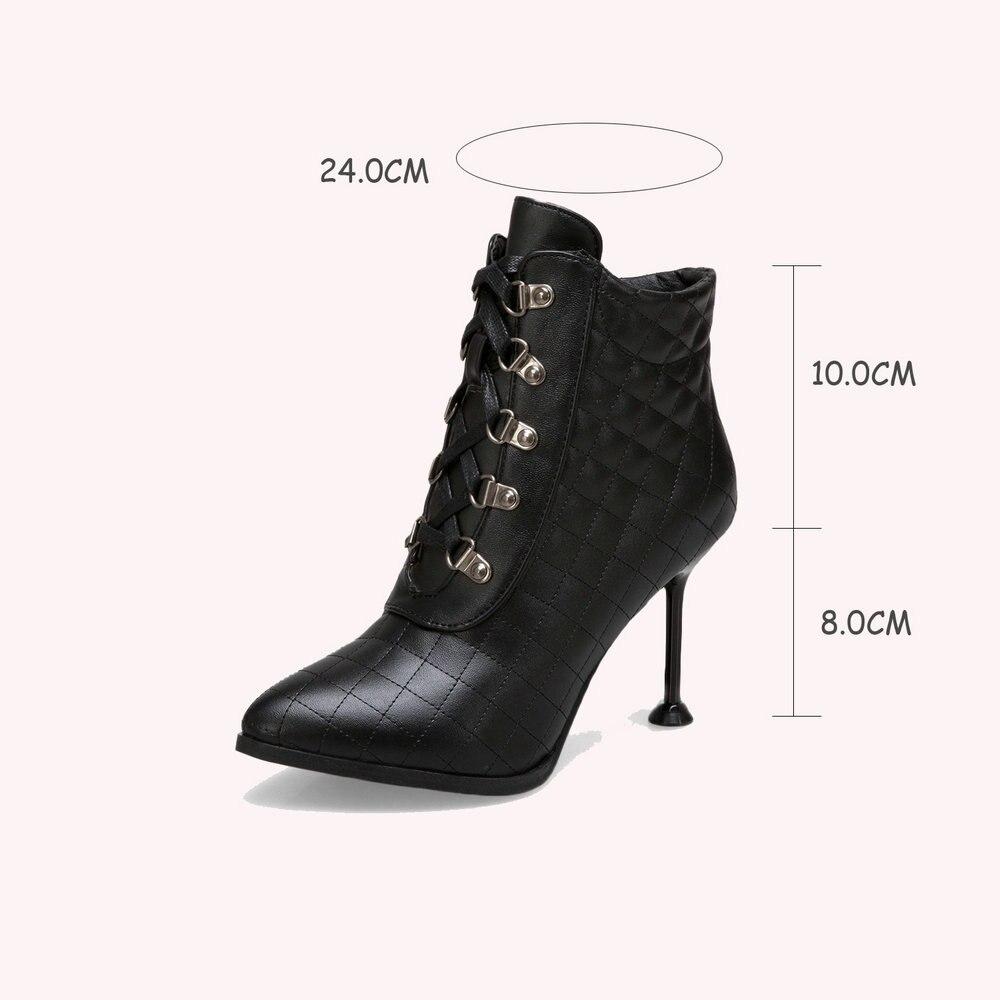 Moda Puntiagudas Tobillo beige Aiweiyi Mujeres Toe Lace Mujer Otoño Black red Zapatos Tacones Up Las Para Botas De Plataforma Invierno dc7qCc4