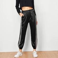 Fahsion Satin smooth cloths sports pants Street style haren 2019 hot