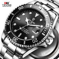 Hot Sell 2019 New Tevise Quartz Men's Watch Automatic Date Fashion Luxury Sport Watches Stainless Steel Clock Relogio Masculino