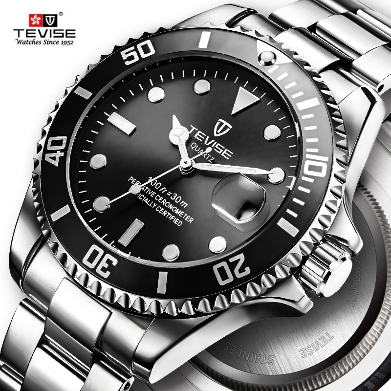Hot Sell 2020 New Tevise Quartz Men's Watch Automatic Date Fashion Luxury Sport Watches Stainless Steel Clock Relogio Masculino
