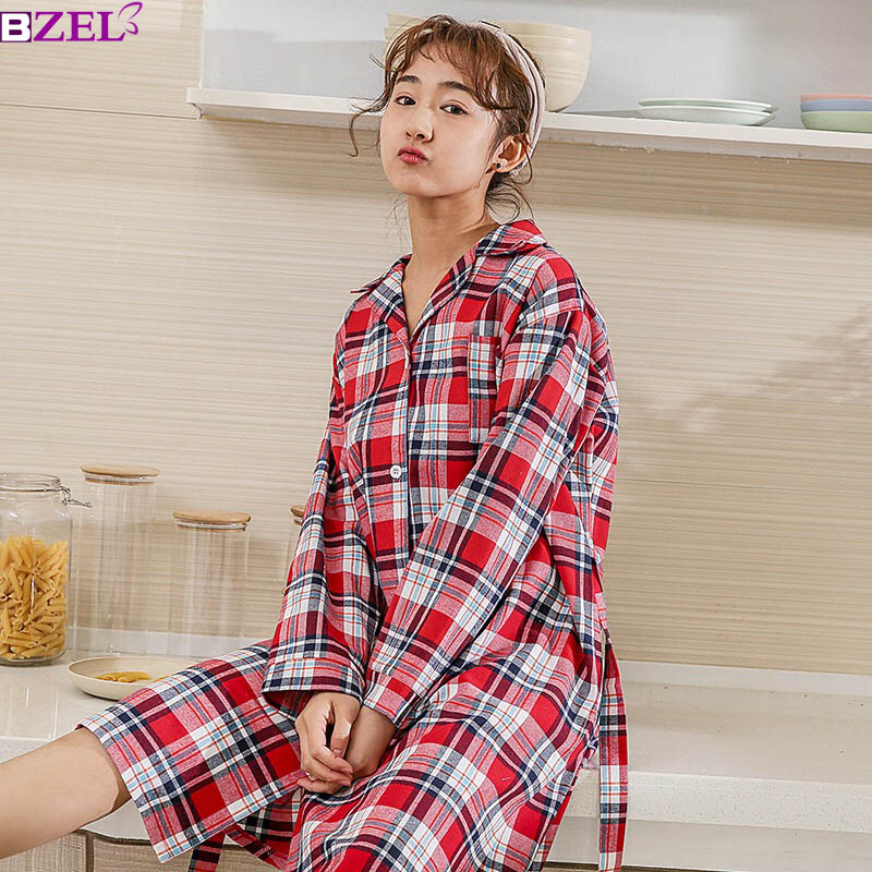 2019 Spring New Ladies Plaid Cotton Sleepwear Turn-down Neck Homewear Comfort Long Sleeve Women's   Sleepshirt   Loose Casual Wear