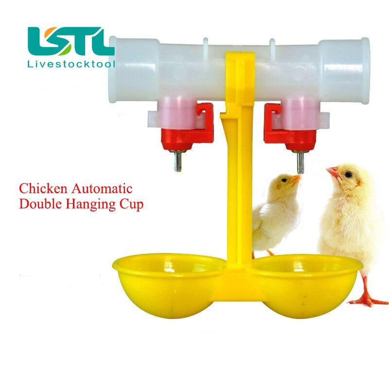 10 Pcs Unggas Peminum Puting Ayam Gantung Ganda Cangkir Otomatis - Produk hewan peliharaan - Foto 6