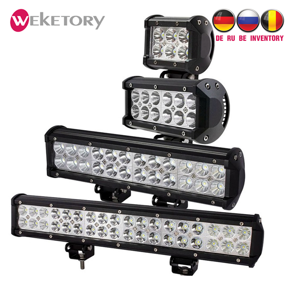 Weketory 4 7 12 17 pulgadas 18 W 36 W 72 W 108 W LED luz de trabajo LED barra de luz para la motocicleta Tractor barco fuera de la carretera 4WD 4x4 camión SUV ATV