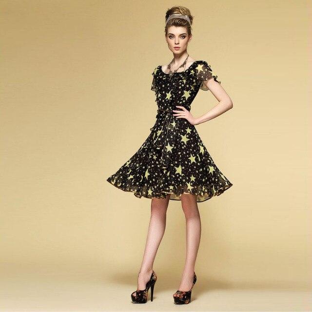 6b5fb64d742964d Шелковое шифоновое платье в богемном стиле, классическое черное платье с принтом  звезды, женское летнее