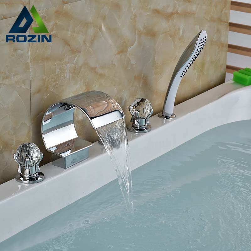 Polished Chrome Widespread 3 Handles Waterfall Bathtub Faucet Set Deck Mount with Handshower