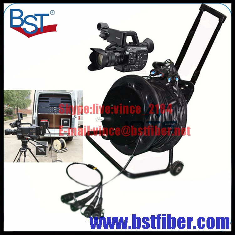 Cable Reel Field Fiber Optic Armored Cable Fiber Optical Tactical Fibre with Reel for TV Transmission Army Fiber Optical Cable