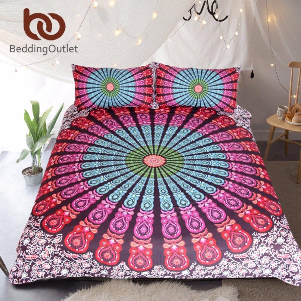 BeddingOutlet 3 Piece Medallion Motif Duvet Cover Set Hippie Floral Indian Mandala Bedding Set Bohemian Boho Chic Home Textiles