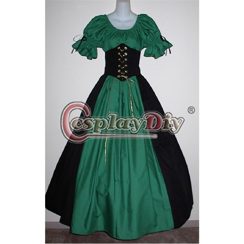 Medieval Fancy Dress Short Sleeve Cincher Victorian Adult Women Carnival Costume Custom Made D0703