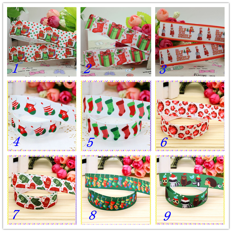 7/8 Free shipping christmas socks printed grosgrain ribbon hairbow headwear party decoration diy wholesale OEM 22mm D367