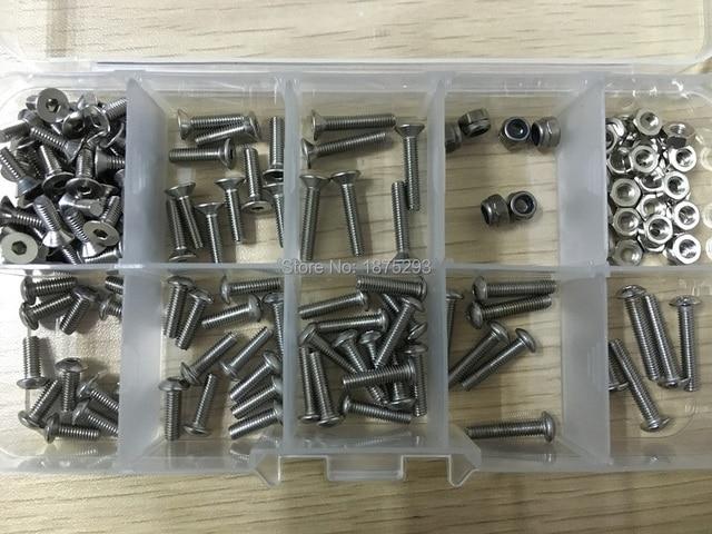 168pcs OpenRC Truggy Fastener Kit M3 Hexagon Socket Countersunk Head Screw & M3 Hexagon Socket Pan Head Cap Screw Set
