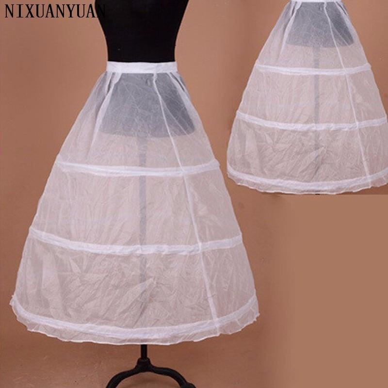 Elastic Waist 3-Hoops Ball Wedding Dress Petticoat White Cheap Bride Petticoat Free Shipping