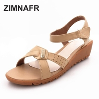 woman sandals 2017 summer genuine leather wedges sandals mom roman soft breathbale comfortable open toe female sandals 35-43