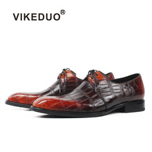 все цены на Vikeduo Classic Formal Dress Shoes Men Plaid Genuine Crocodile Skin Leather Red Derby Shoe Male Wedding Office Zapatos Hombre онлайн
