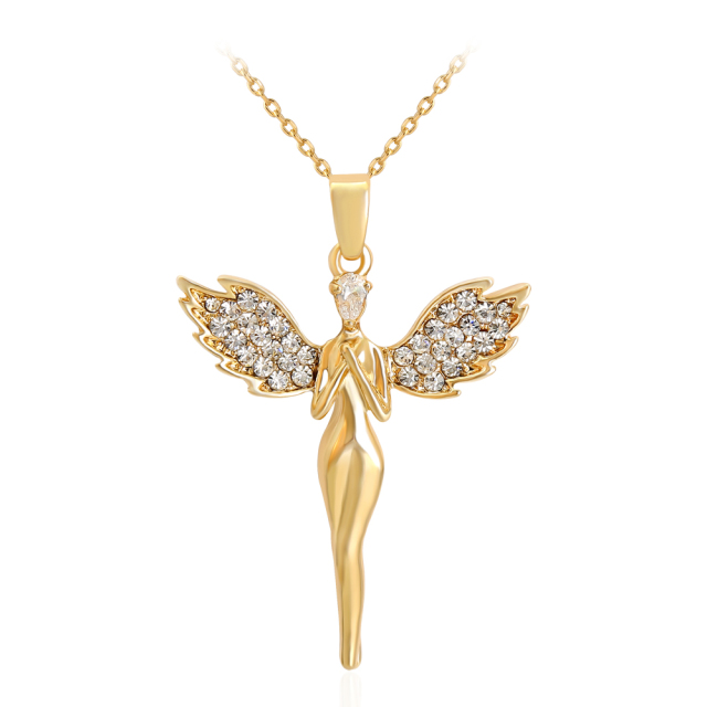 Heaven Jewelry Gold Angel Charms Fairy Pendant God Bless Jewelry