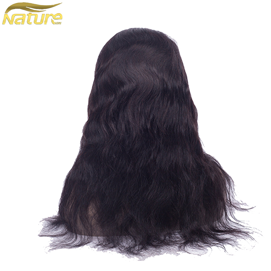 NatureHERE Indian Lace Frontal Closure Body Wave 100% Human Hair Wigs For Black Women Natural Color Non Remy Hair Extensions