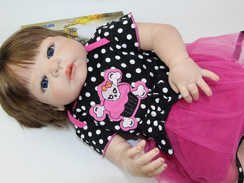 23 Дюймов Reborn Младенцы Полный Силиконовые Виниловые Реалистичные Девочка Моды Ребенок Жив Куклы Kid Лучший Playmate